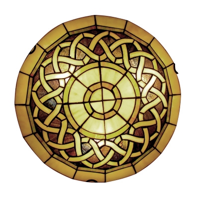 15.75 Inch Wide Tiffany Stained Glass Flush Mount Light 3 Designs for Option