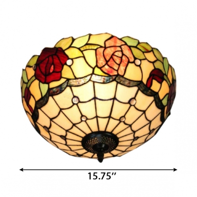 16-Inch Wide Tiffany Flush Mount Ceiling Fixture Up Lighting with Rose Pattern Glass Shade