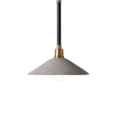 Industrial Style 1-Light Hanging Pendant Lamp with Flared Cement Shade
