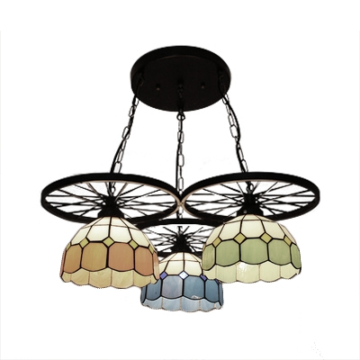 Kids Room Black Wheel Accent Multi Light Pendant Lamp with 3-Color Glass Dome Shade