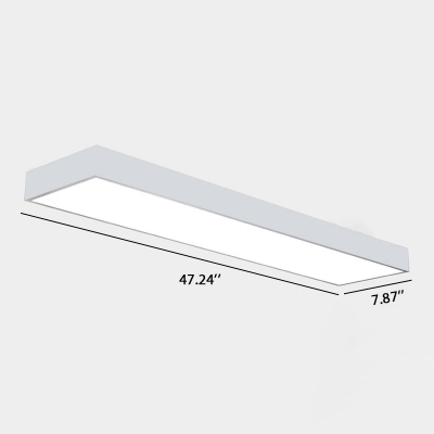 Modern LED Linear Fixture Seamless Connection Rectangular LED Flsuh Light in White Finish 7.87
