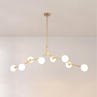 Multi Designs Ultra Modern Branch Led Chandeliers 5 Light-14 Light Cream Glass Sphere LED Chandelier in Gold for Cafe Restaurant Bar Buffet