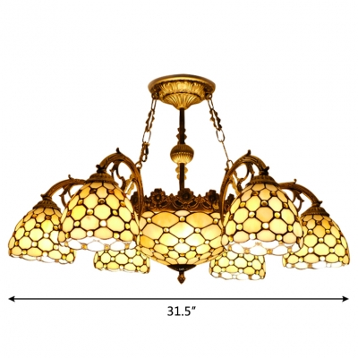Yellow Beads Accented 7/11-Head Center Bowl Tiffany Chandelier in Beige