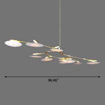 15/27/33W G9 Light Modern LED Branching Chandelier in Gold 5/9/11 Light Multi Metal Disc Chandeliers for Living Room Restaurant Bar