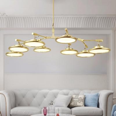 Modern Gold Chandelier 3/5/8 Light Disc Suspension Light 21/35/49W LED Downlight Living Room Restaurant Branching Chandeliers (Warm White)