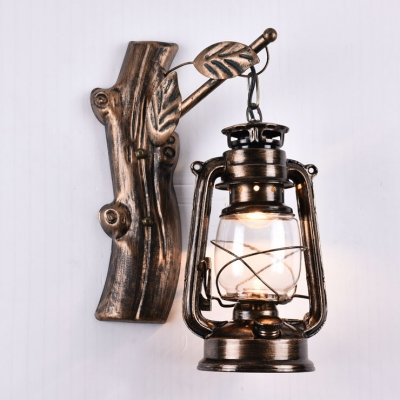 Nautical Style Lantern Wall Sconce with Glass Shade in Age Bronze for Hallway Foyer Balcony HL449360 фото