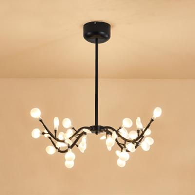 Nordic Style Branching Chandeliers 18/36 Light Black Metal Heracleum II LED Chandeliers for Living Room Bedroom Restaurant