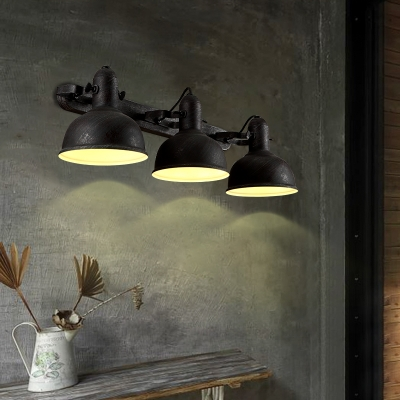 Triple Light Wall Sconce In Dome Rustic