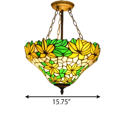 Yellow&Green Stained Glass Leaf Pattern Inverted Hanging Pendant Lamp for Restaurant Cafeteria Dining Hall