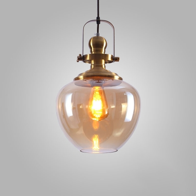 Adjustable 1 Head Bottle Hanging Light with Amber Glass Vintage Loft Style Pendant Lamp in Gold Finish, HL490265