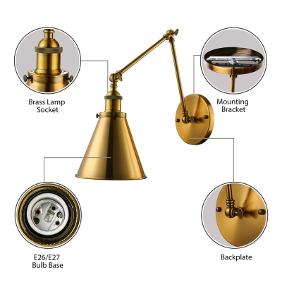 Brass 1Lt Cone Industrial Wall Light With Adjustable Arm for Living Room Bedside Hallway