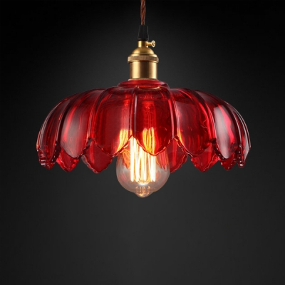 Country Style Red Glass Floral Shade Single Pendant Lighting in Brass for Cafe Restaurant (3 Sizes for Choice)