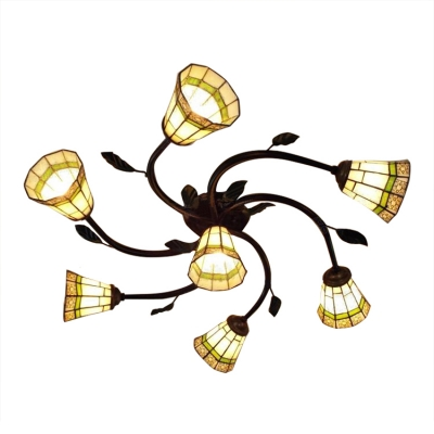 Craftsman Style 7 Lights Geometric Shade Semi Flush Ceiling Light Featuring Leaves Decor