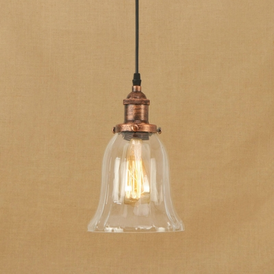 Rust Simple Hanging Pendant 1 Light With Bell Shape Clear Glass For