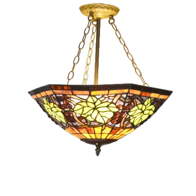 Tiffany Stained Glass Grape Pattern Inverted Hanging Light Fixture for Living Room Dining Room