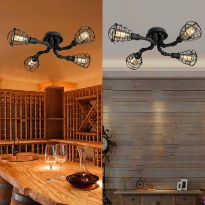 Wrought Iron Pipe Semi Flush Light Industrial Wire Guard 4 Light Ceiling Light in Black Finish