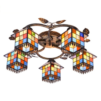 Art Glass Lodge Shade 3/5-Light Semi Flush Ceiling Fixture with Leaves Accent Distressed Bronze Canopy