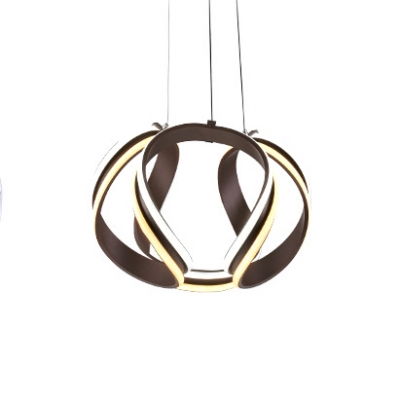 Brown Metal LED Twisted Pendant Lighting 42W 3000/4000/6000K Acrylic Chandelier Height Adjustable for Dining Room Restaurant Cafe