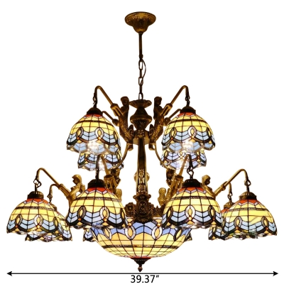 Mediterranean Style Stained Glass Center Bowl Chandelier with 12 Arms Featuring Mermaid Design