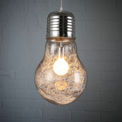 Bulb Shape Hanging Pendant Industrial Glass Shade Single Light Suspension in Chrome for Hallway, HL490274