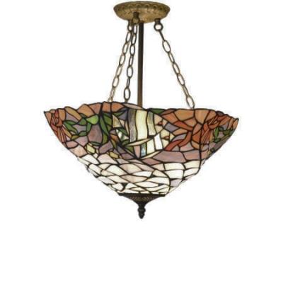 Nautical Style Tropical Fish Bowl Shade Tiffany Pendant Light For