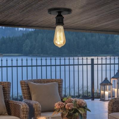 Open Bulb Single Flushmount Ceiling Light in Black for Hallway Kitchen Foyer