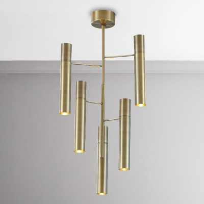 Post Modern Antique Brass LED Cylinder Chandelier 30/50W LED Warm Light 6-Light/10-Light Metal Multi Light Chandelier for Bathroom Kitchen Porch