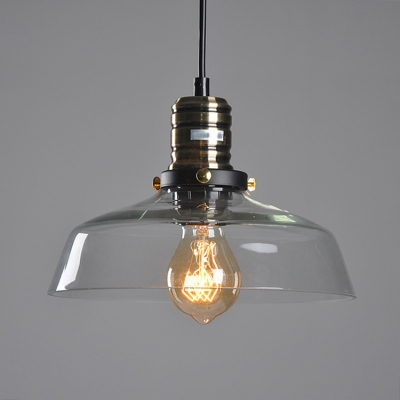 Vintage 10 Inches Wide LED Hanging Pendant Lighting with Amber/Clear Glass Dome Shape