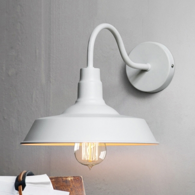 White Barn Style Shade with Gooseneck Arm