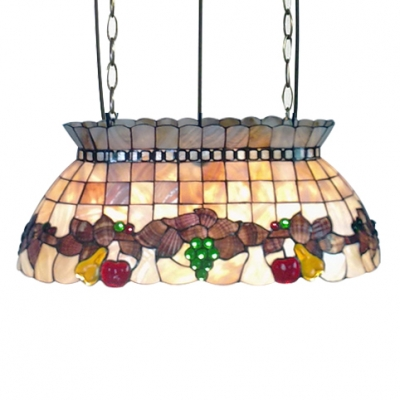 21.65-in Wide Fruit Theme Natural Shell Billiards Light in Rustic Style with Adjustable Chain