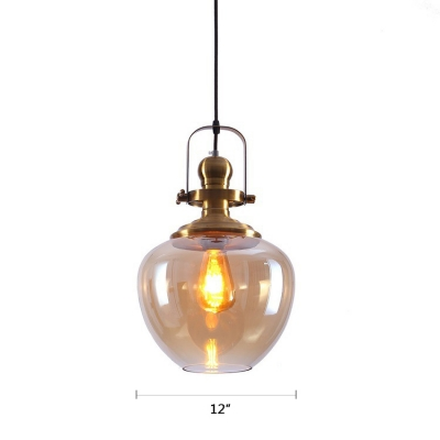 Adjustable 1 Head Bottle Hanging Light with Amber Glass Vintage Loft Style Pendant Lamp in Gold Finish