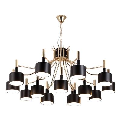 Black and Gold Multi Light Chandelier 12/15 Light Metal LED Drum Chandelier Indoor Large Lights for Living Room Hotel Foyer