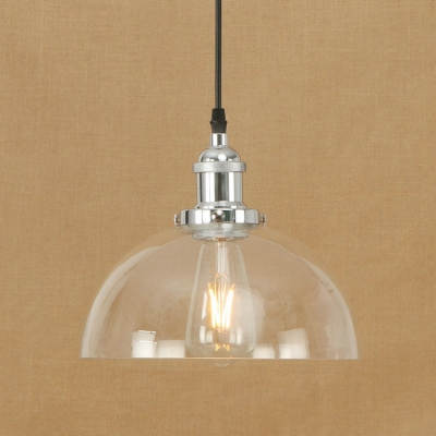 Industrial Style Dome Suspension Clear Glass Single Pendant Light in Chrome/Bronze for Restaurant, HL490177