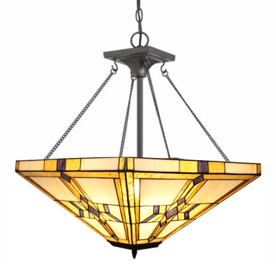 Mission Style Tiffany Stained Glass Inverted Hanging Light for Living Room Restaurant 2 Sizes for Choice