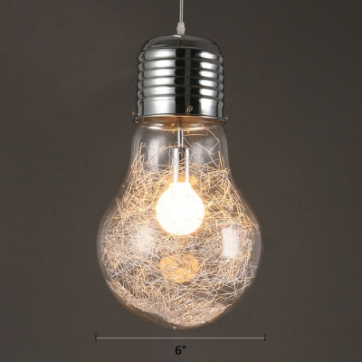 Bulb Shape Hanging Pendant Industrial Glass Shade Single Light Suspension in Chrome for Hallway