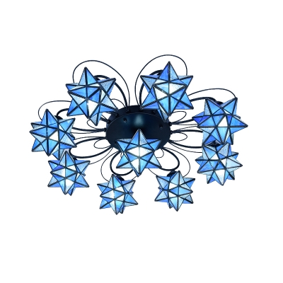 Blue Star Designed Chic Ceiling Light Fixture for Kids Room 2 Sizes for Option
