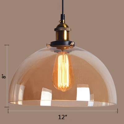 Brass Finish Dome Hanging Light Industrial Clear/Amber Glass 1 Light LED Pendant Light