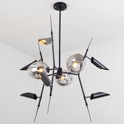 Exclusive Contemporary Light Fixture Smoke Glass LED Light 9 Head Metal LED Tube Chandelier in Black for Bar Clothes Stores Living Room