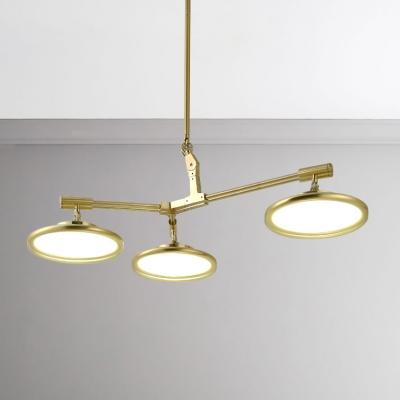 Modern Gold Chandelier 3 5 8 Light Disc Suspension 21 35 49w Led