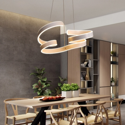 Nordic Style Creative LED Curved Chandelier 110W LED Aluminum Pendant Lighting in Glossy White for Bedroom Living Room Office