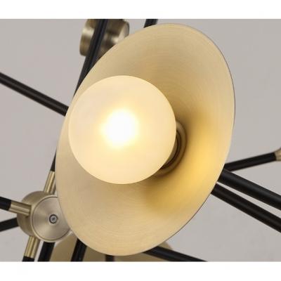 Vintage Style Multi Light Antique Brass LED Chandelier 6/12/24W 3/6/12 Light LED Horn Chandelier for Living Room Restaurant Stores