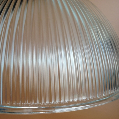 Antique Brass Dome Pendant Lamp Industrial Style 1 Light Ribbed Glass Hanging Lamp for Restaurant