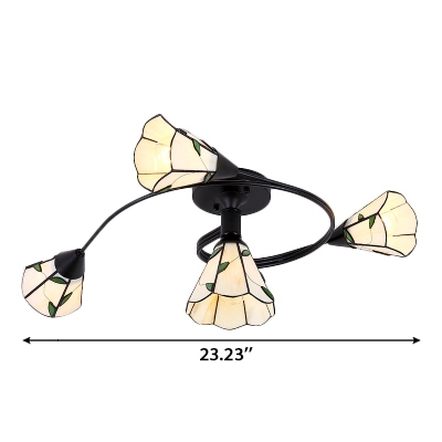 Contemporary Style Simple 4/6-Light Semi Flush Mount with Green Leaf Patterned Cone Shade
