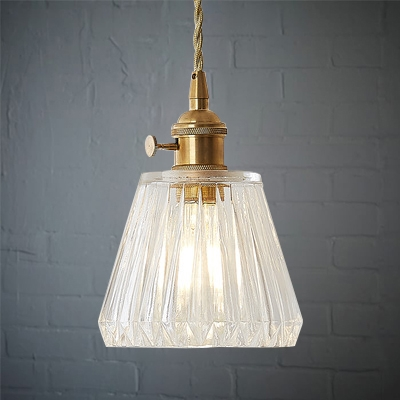 Mini Pendant Single Light with Clear Prismatic Glass for Bedside Hallway Kitchen