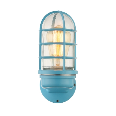 Nautical Cylinder Wall Sconce with Metal Cage for Bedside Bathroom Hallway-Blue/Gray/Green/Pink