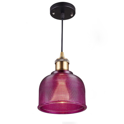 One Light Prismatic Glass Shade Industrial Living Room Mini Pendant in Brass