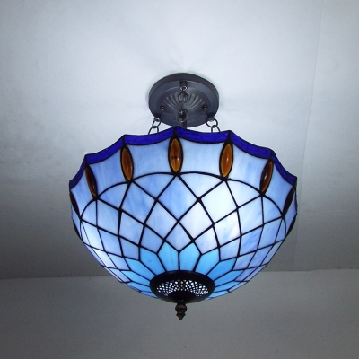 Tiffany Amber Jewels Accented Blue Bowl Shade Hanging Light in Matte Black Finish 15.75