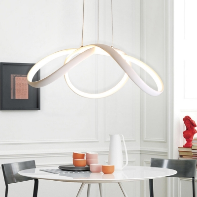 Acrylic Lampshade White Pendant Light Led 55w Twisted Chandelier In Aluminum For Dining Table Kitchen Bedroom 22 Lx10 W Beautifulhalo Com