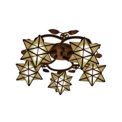 Casual Style 5/8-Bulb Semi Flush Light Fixture with Frosted Glass Star Shaped Shade