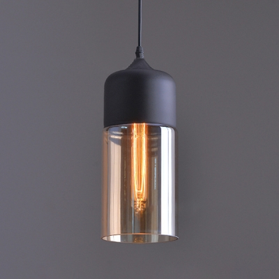 Ceiling Pendant 1 Light with Amber Glass Cylindrical Shade in Black for Dining Room Cafe (2 Sizes for Choice